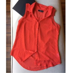 Ana | Red Sheer Cutout Button Down Blouse | S